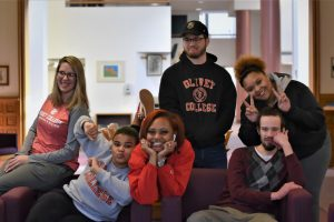 A group of six Kalamazoo Promise students having fun in Burrage Library.